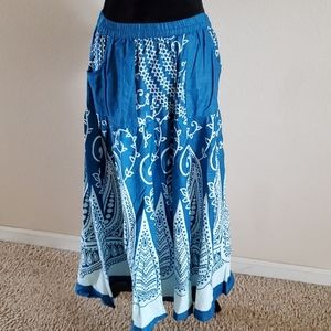 Unity Missy Skirt Cotton A-Line Blue/White new wit